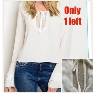 ⚠️only 1 left⚠️bell-sleeve sparkle off white top